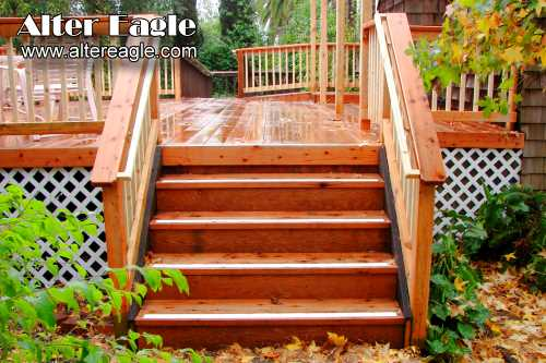 Deck stairs how we build stairs alter eagle deck for Deck stairs pictures